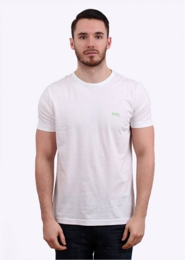 Hugo Boss Green Logo Tee - White