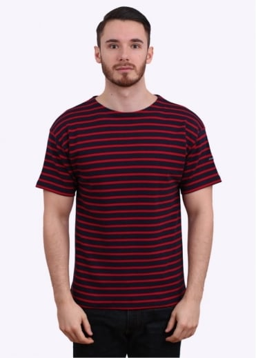 Armor Lux Doelan SS Sailor Stripe Tee - Dark Blue / Red
