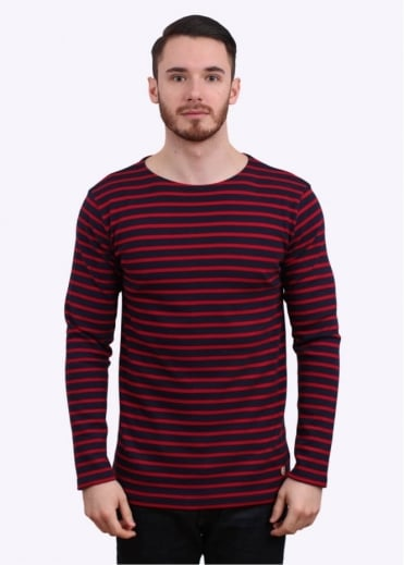 Armor Lux 2297 Mariniere Breton Stripe Tee - Dark Blue / Red