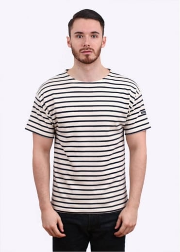 Armor Lux Doelan SS Sailor Stripe Tee - Nature / Navy