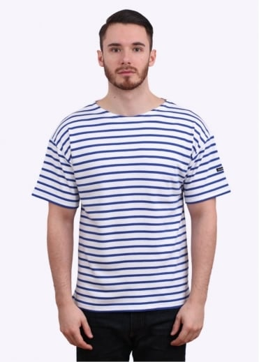 Armor Lux Doelan SS Sailor Stripe Tee - White / Blue