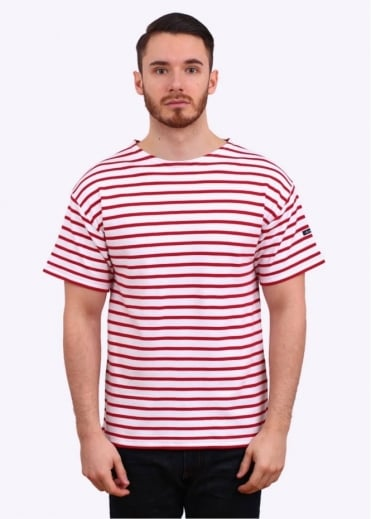 Armor Lux Doelan SS Sailor Stripe Tee - White / Red