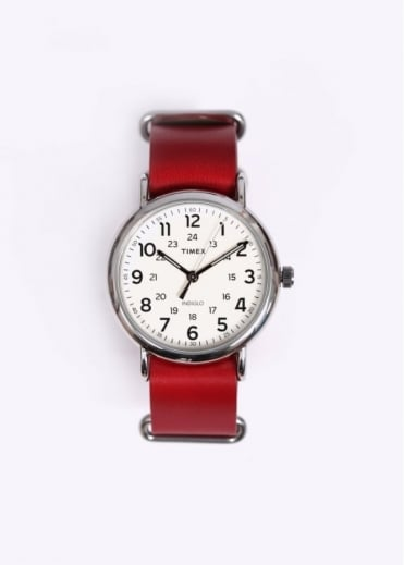 Timex Weekender Leather Strap Watch - Red