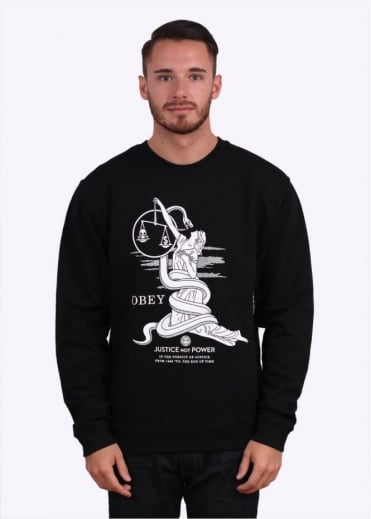Obey Justice Not Power Sweater - Black