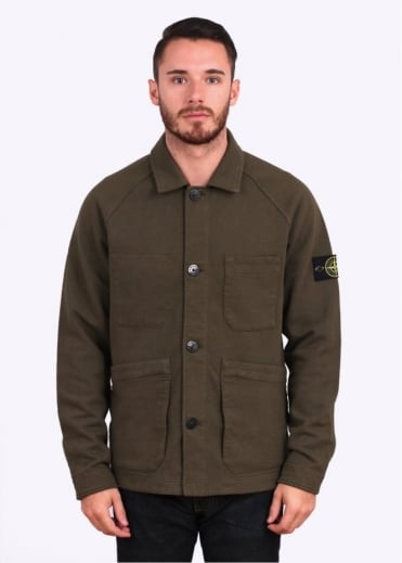 Stone Island Work-Wear Button Overshirt / Jacket - Military Green