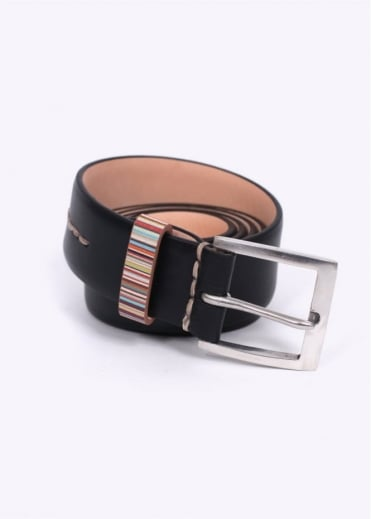 Paul Smith Accessories Stripe Keeper Leather Belt - Black