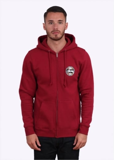 Stussy Metallic Dot Zip Hoodie - Dark Red