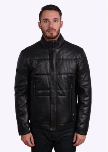 Hugo Boss Green Jevons Leather Jacket - Black
