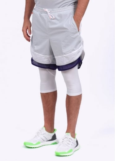 Adidas Originals Apparel x Kolor Layered Tech Performance Running Shorts - White / Grey / Purple
