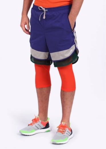 Adidas Originals Apparel x Kolor Layered Tech Performance Running Shorts - Purple / Orange / Grey