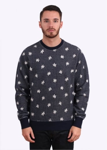 Paul Smith Jeans Floral Print Sweater - Navy Blue