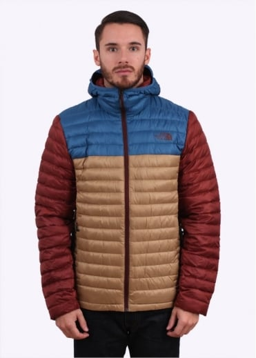 North Face Tonnerro Hooded Down Jacket - Moab Khaki / Dish Blue / Brick House Red
