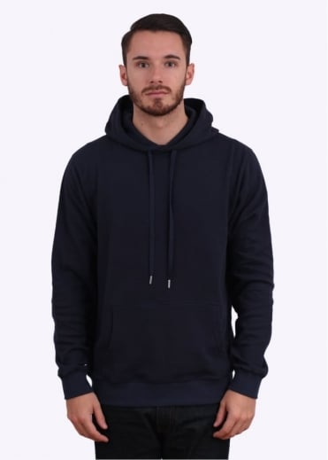 Sunspel Cellulock Hoodie - Navy Blue