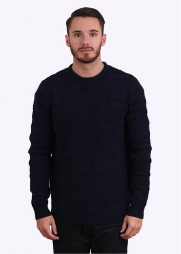 Wolsey Cable Crew Neck Sweater - Total Eclipse