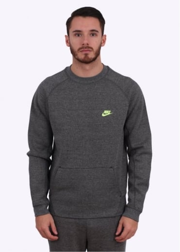 Nike Apparel Tech Fleece Crew - Charcoal/Volt