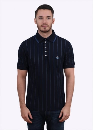 Vivienne Westwood Mens Stripe Polo Shirt - Navy Blue