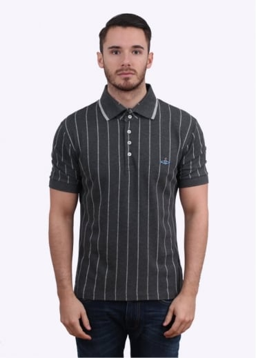 Vivienne Westwood Mens Stripe Polo Shirt - Grey