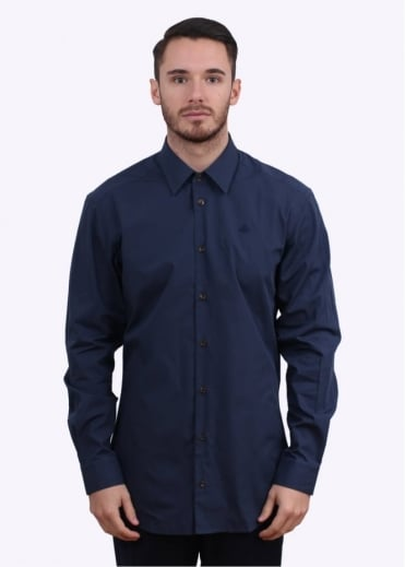 Vivienne Westwood Mens Plain Orb Shirt - Navy Blue