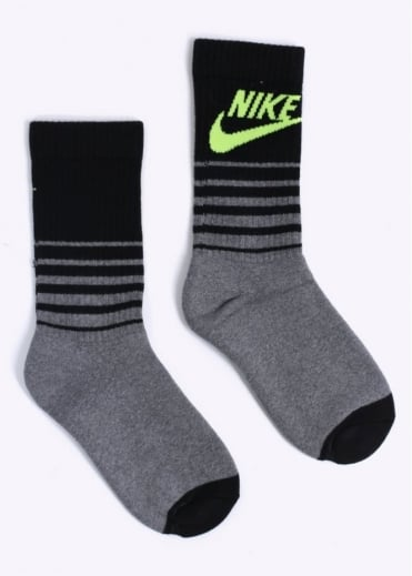 Nike Accessories HBR Classic Striped Crew Socks - Carbon Heather / Black / Volt