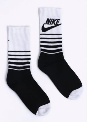 Nike Accessories HBR Classic Striped Crew Socks - Black / White
