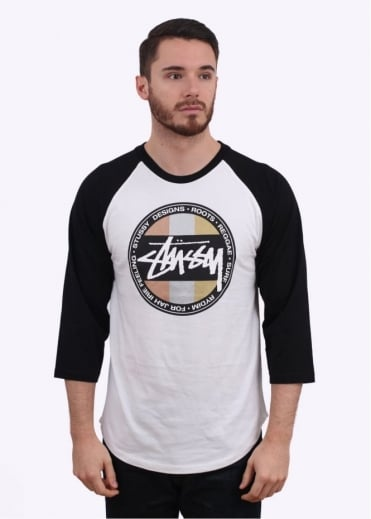 Stussy Metallic Dot Raglan Tee - White / Black