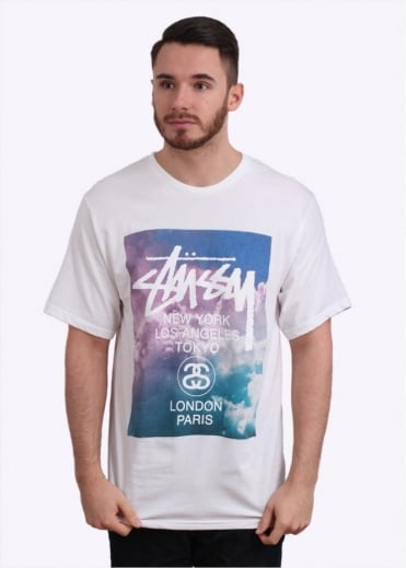 Stussy World Tour Clouds Tee - White