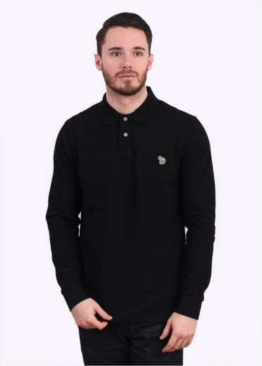 Paul Smith Jeans Long Sleeve Zebra Polo Shirt - Black