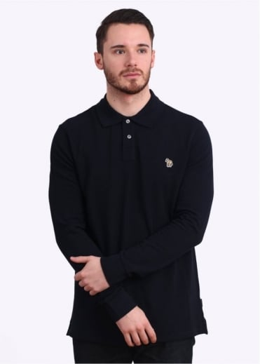 Paul Smith Jeans Long Sleeve Zebra Polo Shirt - Navy