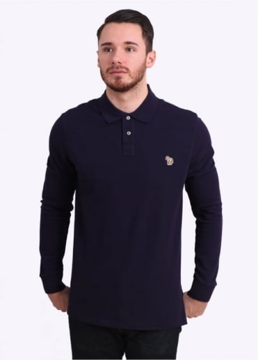 Paul Smith Jeans Long Sleeve Zebra Polo Shirt - Purple