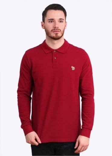 Paul Smith Jeans Long Sleeve Zebra Polo Shirt - Dark Red