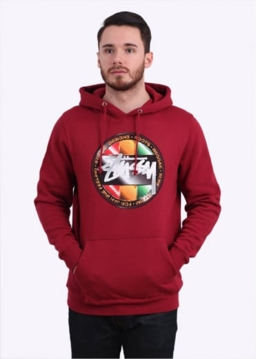 Stussy Chrome Dot Hoody - Dark Red
