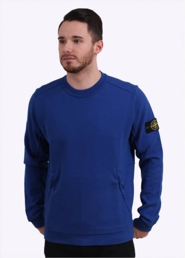 Stone Island Zip Logo Sweatshirt - Royal Blue