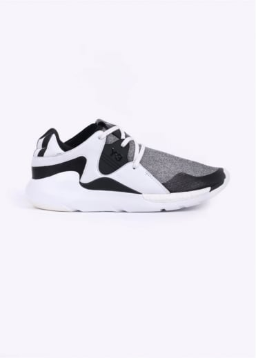 Y3 / Adidas - Yohji Yamamoto QR Run Leather & Mesh Trainers - White / Black