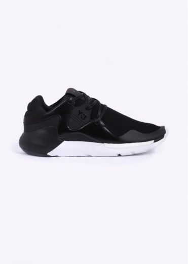 Y3 / Adidas - Yohji Yamamoto QR Run Leather & Mesh Trainers - All Black