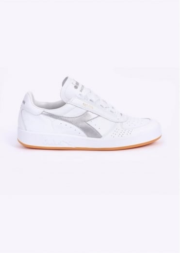 Diadora B. Elite Kangaroo Leather Trainers - White / Silver