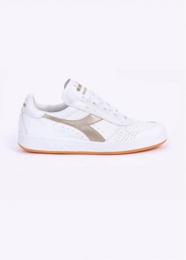 Diadora B. Elite Kangaroo Leather Trainers - White / Rich Gold