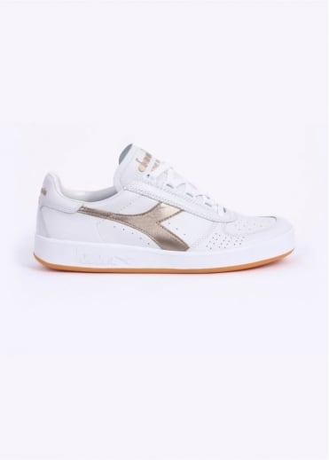 Diadora B. Elite 'Made In Italy' Calf Leather Trainers - White / Gold