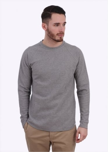 Norse Projects Aske Fine Structured Sweater - Light Grey