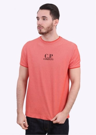 C.P. Company Garment Dyed Logo Tee - Orange / Bright Red