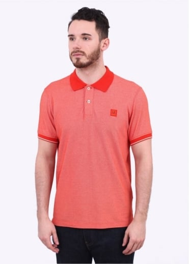 C.P. Company Garment Dyed Logo Polo - Orange / Bright Red