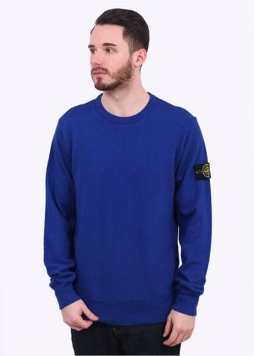 Stone Island Washed Crew Sweater - Bright Blue