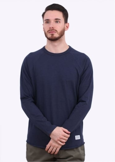 Norse Projects Aske Perforated LS Tee - Navy