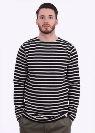 Norse Projects Godtfred LS Breton Stripe Tee - Navy / Ecru