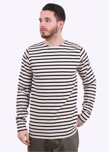Norse Projects Godtfred LS Breton Stripe Tee - Ecru / Navy