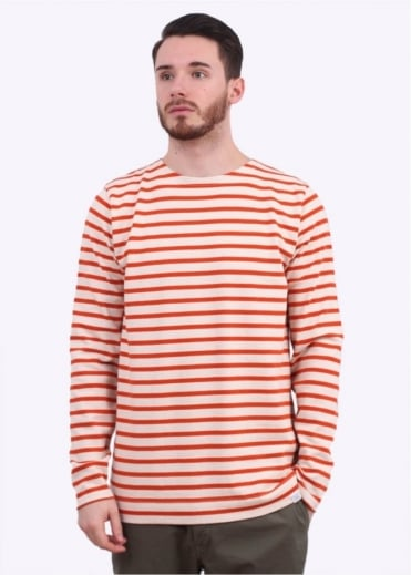 Norse Projects Godtfred LS Breton Stripe Tee - Ecru / Orange