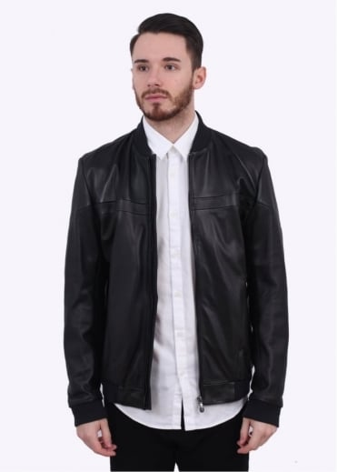 Hugo Boss Green C-Jenom Leather Bomber Jacket - Black