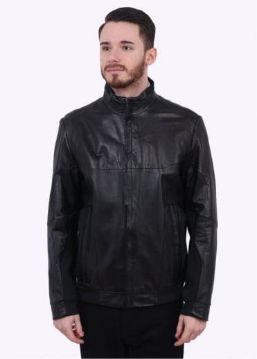 Hugo Boss Green Jaano Leather Jacket - Black