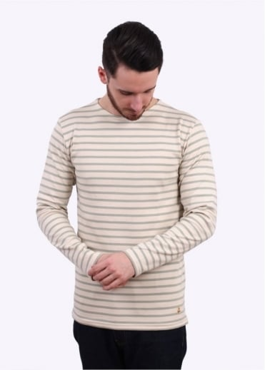 Armor Lux Breton T-Shirt - Cream / Light Grey