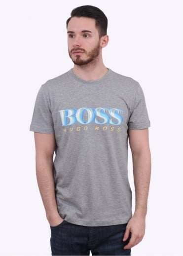 Hugo Boss Green 7 Logo Tee - Light Grey