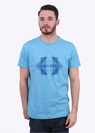 Hugo Boss Green 2 Logo Tee - Open Blue